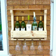 Rustic Wooden Wine Rack & Shelf - Natural