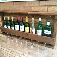 Rustic Wooden Wine Rack & Shelf - Medium Oak Stain