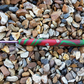 Crochet Hook Size 3 mm Red Glitter and Green Clay Swirl handle with Santas