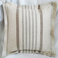 Cream Woven Stripped Oxford Square Cushion Cover
