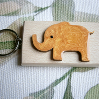 Fun Elephant, key ring bag charm hand painted unique