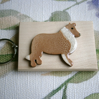 Hand painted Sheltie Shetland Sheep dog key ring bag charm sable white