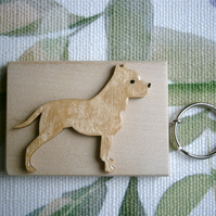 Staffordshire bull terrier hand painted key ring bag charm unique gift