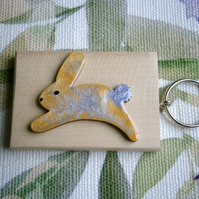 Cute hand painted rabbit key ring or bag charm unique