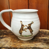 Pottery stoneware ceramic pottery mug white with boxing hare