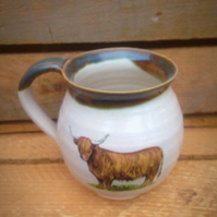 Pottery mug cup ceramic stoneware highland cow