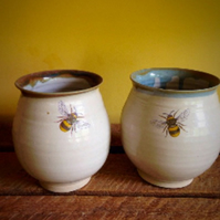 Ceramic pottery bee goblet stoneware pottery