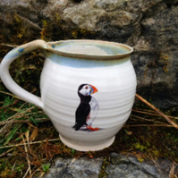 Pottery cup mug stoneware ceramic puffin