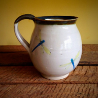 Handmade pottery cup ceramic mug multiple dragonfly stoneware