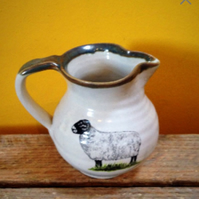 Pottery milk jug  sheep ceramic stoneware