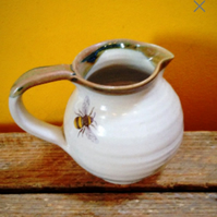 Pottery bee ceramic stoneware milk jug