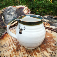 Ceramic pottery mug cup stag handthrown stoneware