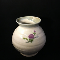 Pottery thistle vase handthrown flower vase
