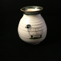 Pottery sheep vase handthrown  Ceramic flower vase