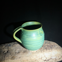 Pottery stoneware matt green  large cup ,mug