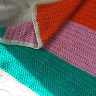 Square Cotton Pram Blanket Orange, Pink, BlueGreen and White