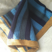 Blues and Tan Acrylic Wool Crochet Blanket
