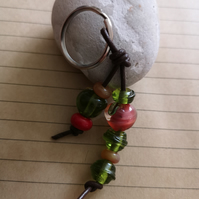 Apple For Teacher Lampwork Bead Keyring Gift