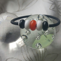 Black, Orange and White Lampwork Jelly Bracelet