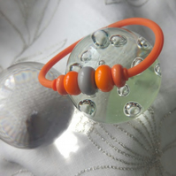 Orange Lampwork Jelly Bracelet