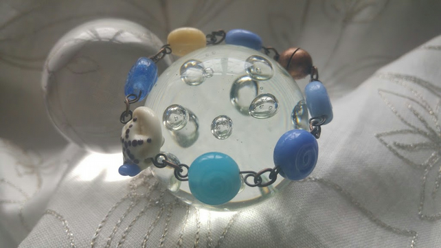 The Sea Variety Lampwork Bead Bracelet
