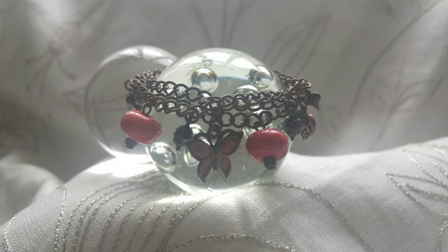The Coral Butterfly Lampwork Bead Bracelet