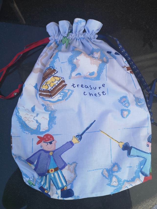 Pale Blue Pirate Themed Drawstring Ribbon Gym or Storage Bag