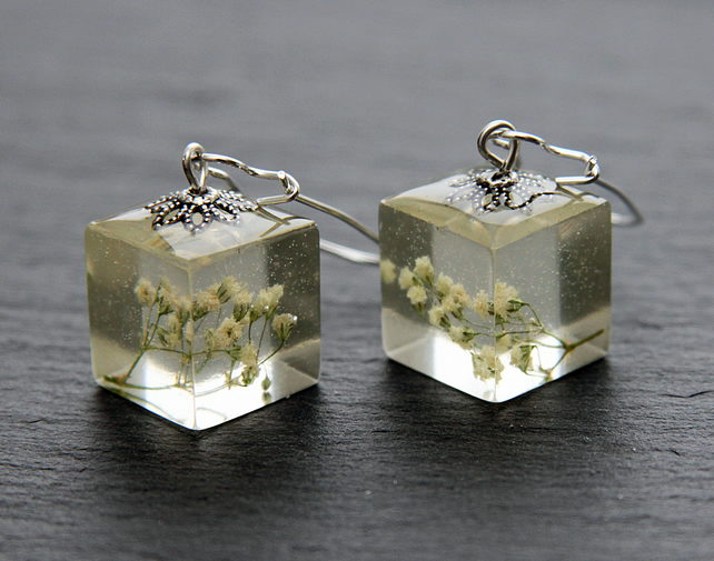 Real Dried White Cream Gypsophila Flowers Earrings Dangle Resin Elegant Bridal