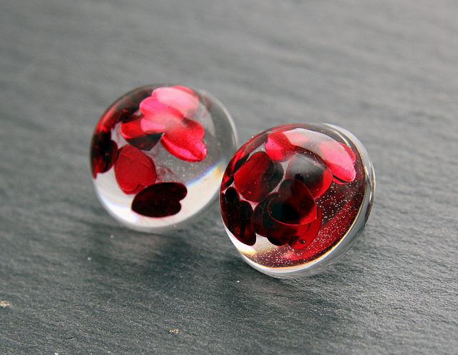 Handmade Resin Studs Earrings with Red Hearts Gift for Her Modern Spring Glitter