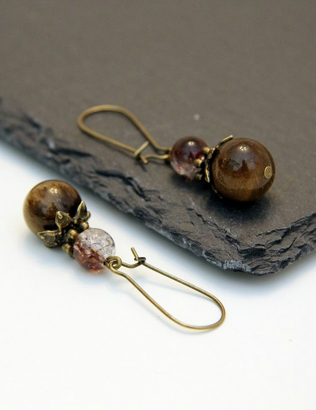 Tiger's Eye Handmade Earrings Dangle Gemstone Brown Glass Birthstone Beads Gift