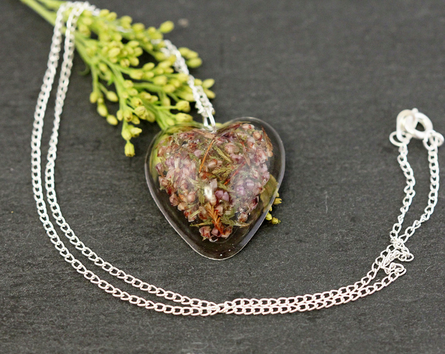 Heather Heart Resin Pendant Necklace Real Wildflowers Pressed Dried Purple Gift