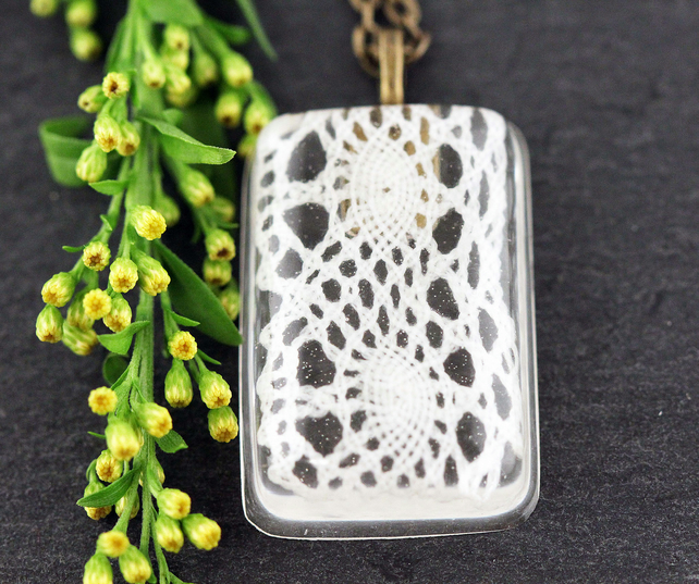 White Lace Resin Pendant Vintage Bridal Lace Necklace Flowers Floral Jewellery