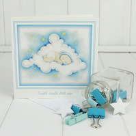 "New Baby Boy Card - ""Sweet Dreams"" birth announcement, christening card"