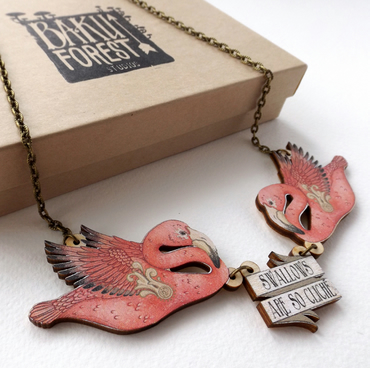 Swallows Are So Cliché! Tattoo Inspired Flamingo Rockabilly Statement Necklace