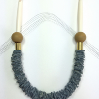 DAY - Leather, Cotton and Polymer Necklace - Grey and Taupe