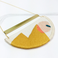 MAHLER - Linen, Thread and Gold Necklace - Mustard