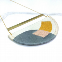 MAHLER - Linen, Thread and Gold Necklace - Steel