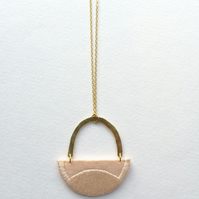 LINNEA - Cotton, Thread, Gold and Brass Necklace - Blush