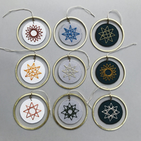 Hand Embroidered Decoration - White, Grey or Indigo - Various designs
