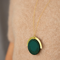 LUNA circle pendant in Forest Green
