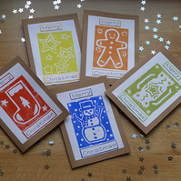 Set of 5 hand printed Christmas cards with matching gift tags