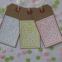 Set of 3 printed Butterfly gift tags