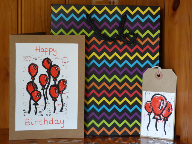 Lino Printed balloon card and gift tag set- Red