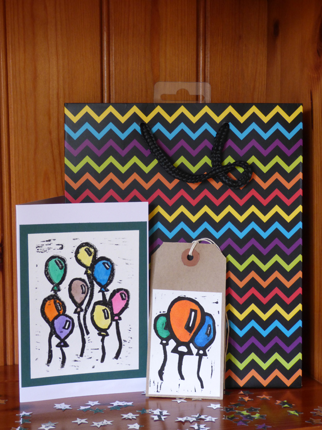 Lino printed balloon card and gift tag set- Green