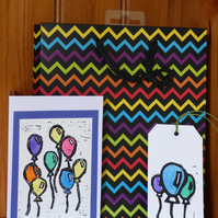 Lino Printed balloon card and gift tag set- Blue