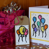 Lino Printed balloon card and gift tag set- Yellow