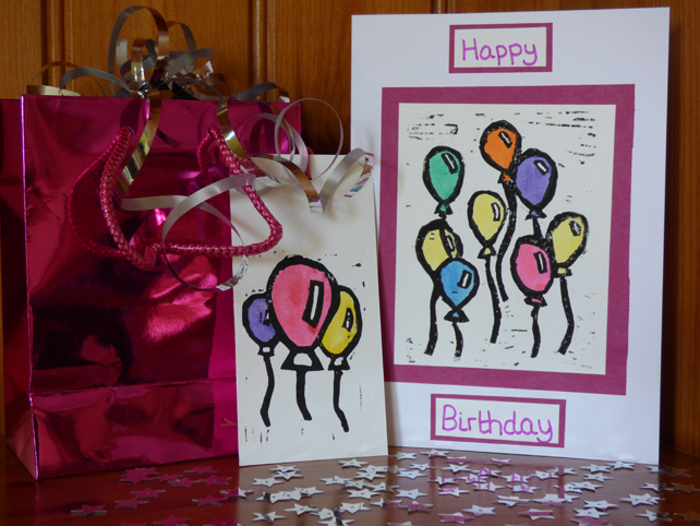 Lino Printed balloon card and gift tag set- Pink