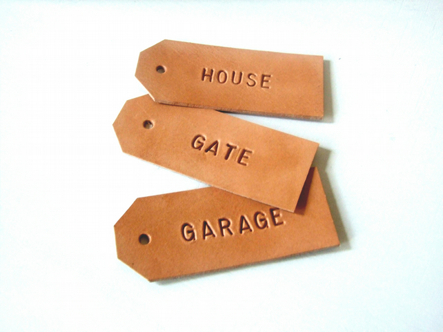 Set of 3 Personalized Leather Key Rings, Hand Stamped Gift Tags, Stocking Filler