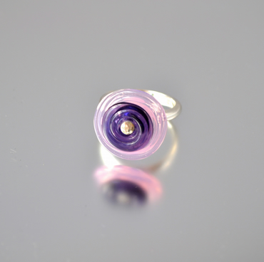 Pink and purple flying saucer glass ring