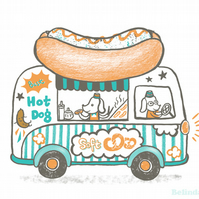 Sausage dog with hot dog van - A3 Original limited edition silk screen print
